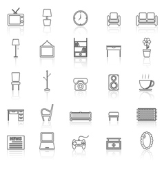 Living room line icons with reflect on white vector