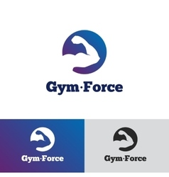 Minimalistic gradient gym logo fitness vector