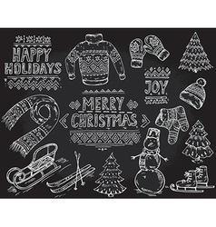 Set of black and white hand drawn christmas vector