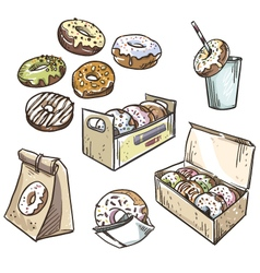 Selection of donuts vector