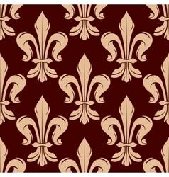 Seamless beige fleur-de-lis pattern vector