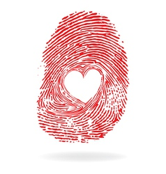Fingpr heart red vector