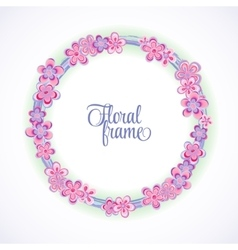 Spring circle frame with flowers and place for vector image
