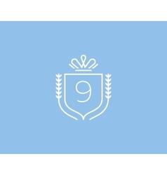 Elegant number 9 logotype premium numeral crest vector