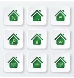 Real estate house flat icons set vector