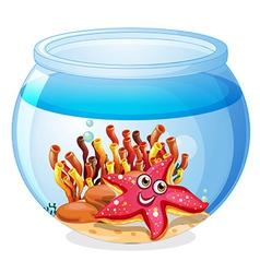 A starfish inside the aquarium vector image