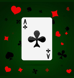 Ace of clubs playing card vector