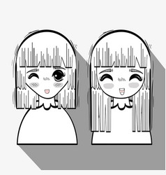 Anime happy cute women vector