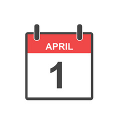 april 1 fool day calendar icon in flat style vector image