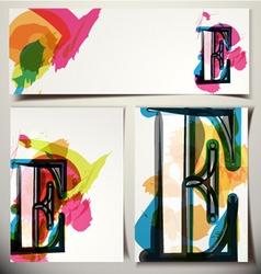 Artistic greeting card letter e vector