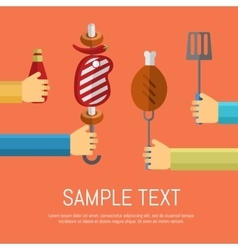 Barbecue grill poster design template vector image
