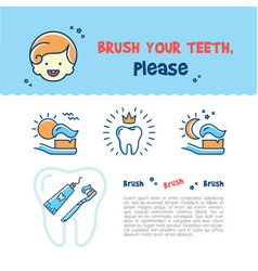 brush your teeth childrens card child dental vector image