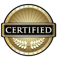 Certified Gold Emblem vector image vector image