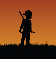 Child with swords in nature vector