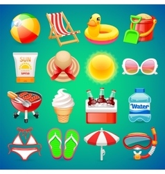 Colorful Summer Icons Set vector image