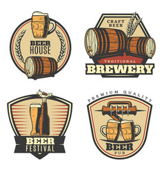 Colorful vintage brewing emblems set vector