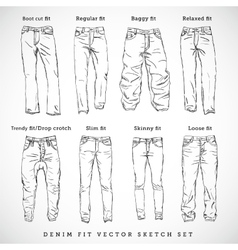 Denim fit hand drawn sketch set vector