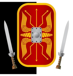 Fantasy shield and sword vector