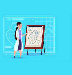 Female doctor cardiologist over flip chart with vector