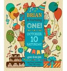 First birthday card invitation vector