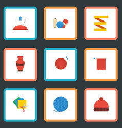 flat icons shop scissors yarn and other vector image vector image