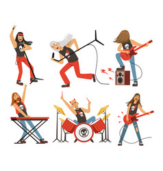 Funny cartoon characters in rock band musician in vector
