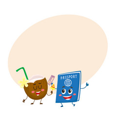 Funny passport and coconut characters travelling vector