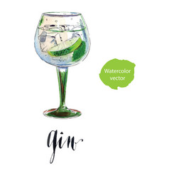 Gin with ice and lime slice vector