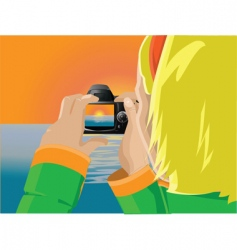 girl photographing sunset vector image vector image
