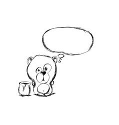 hand draw bear vector image vector image