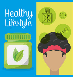 Healthy man with natural treatment pills vector