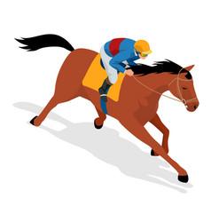 isometric jockey on horse champion horse riding vector image