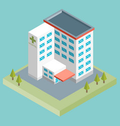 isometric medium hospital buiding health and vector image vector image