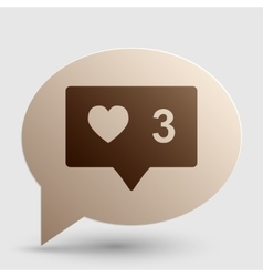 Like and comment sign brown gradient icon on vector