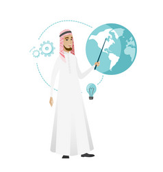 Muslim businessman pointing at a globe vector