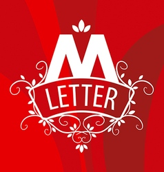 Ornate letter m logo on a red background vector