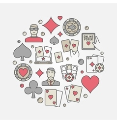 Poker colorful circular vector