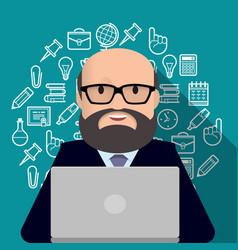 Professor teacher man with a beard working on vector