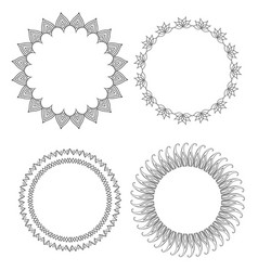 set of round doodle frames with different patterns vector image vector image