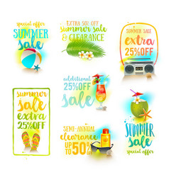Set of season sale summer holidays designs vector
