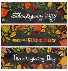 Thanksgiving day bannersAutumn leavesChalkboard vector image vector image