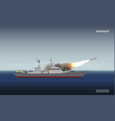 warship shooting a rocket military ship vector image