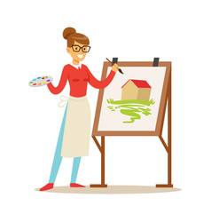 Woman artist holding palette and brush standing vector