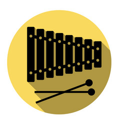 xylophone sign flat black icon with flat vector image vector image