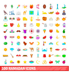 100 ramadan icons set cartoon style vector