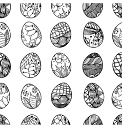 Pattern with easter eggs vector