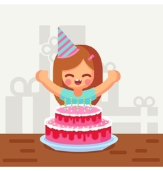 Happy sweet cute cartoon girl with birthday cake vector