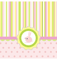 Greeting card with stripes dots and rabbit vector image