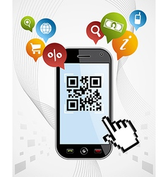 Smart phone qr code application vector