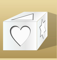 Old paper gift box decorated with paper cut motifs vector